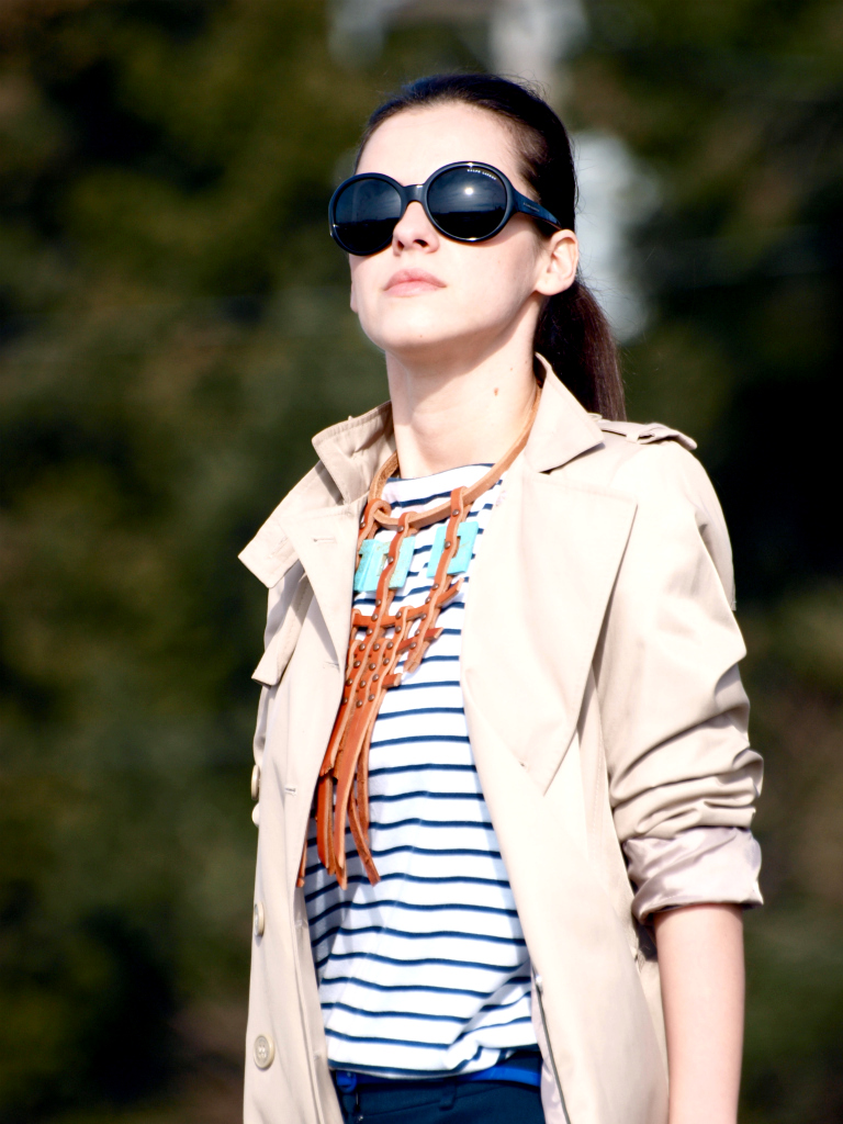 bittersweet colours, DIY, stripes, vintage, Zara, DIY necklace, trench coat, street style stripes trend