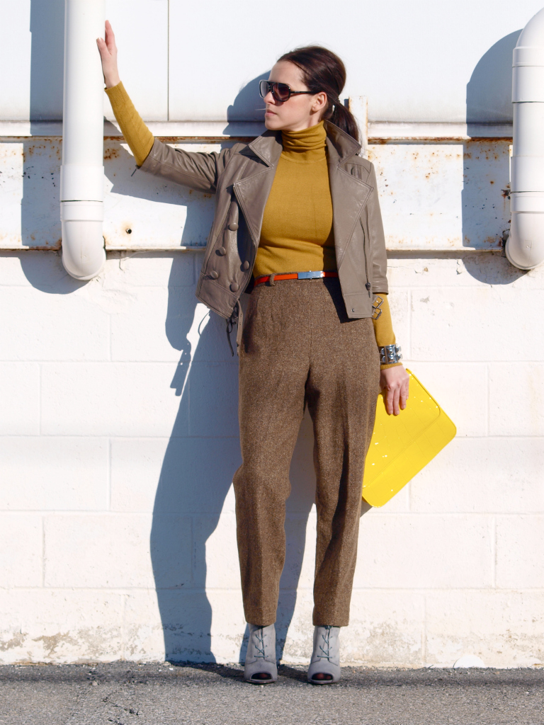 bittersweet colours, Michael Kors, orange, vintage, yellow, Zara, leather jacket, street style,