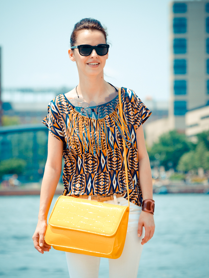bittersweet colours, street style, colors, prints, summer trends, ray ban sunglasses, DIY necklace, diy bag