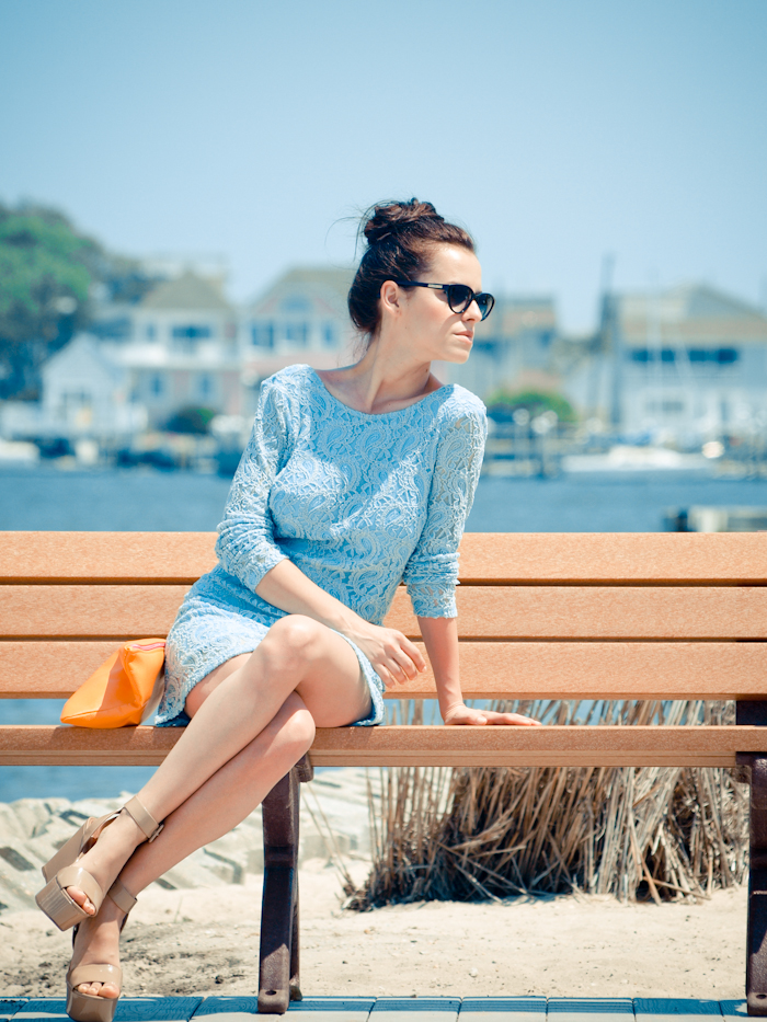 bittersweet colours, beach, lace dress, baby blue dress, pastels, summer fashion