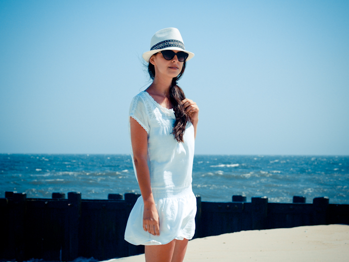 bittersweet colours, ocean, beach day outfit, beach look, white dress, summer dress, fedora hat,