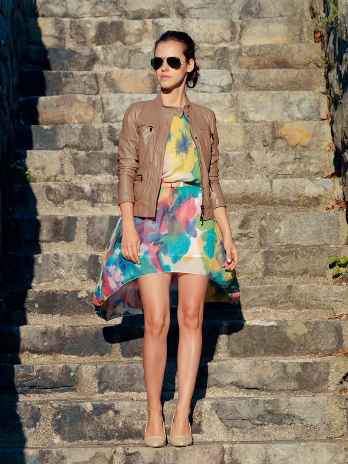 bittersweet colours,Street style, summer fashion, mini dress, ray ban sunglasses, floral dress, leather jacket,