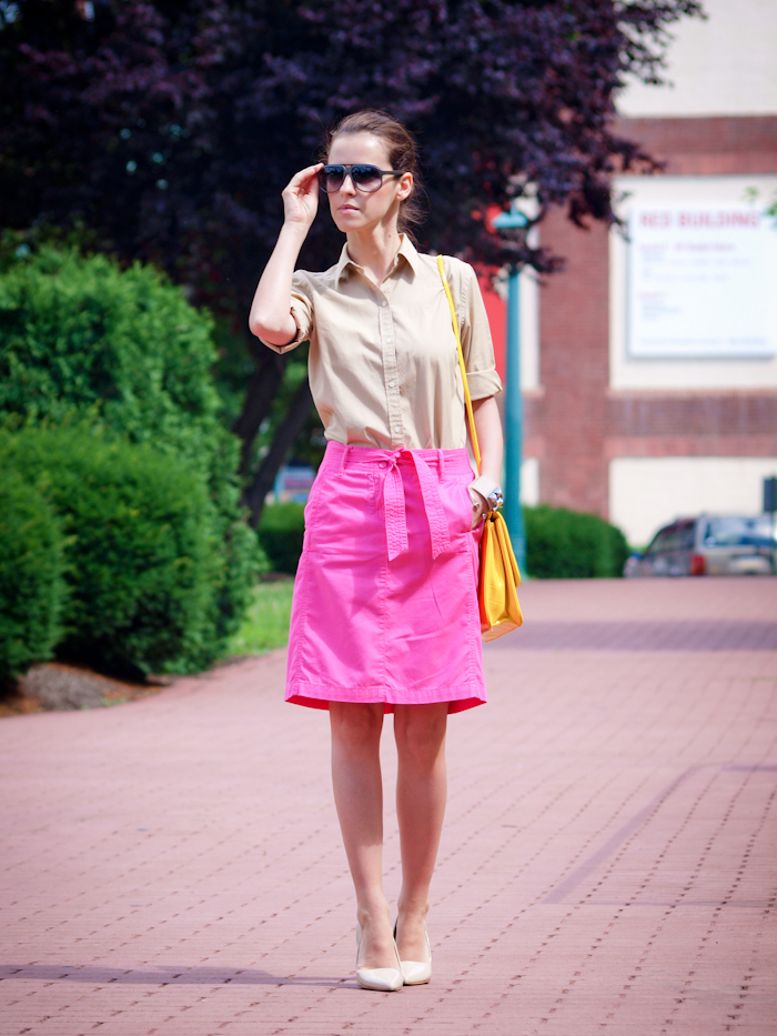 bittersweet colours, street style, colors, fashion trends, summer style, vintage,  pink skirt, nude heels,