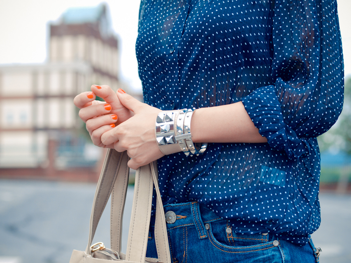 bittersweet colours, street style, colors, fashion trends, denim , polka dot prints, casual look, navy,