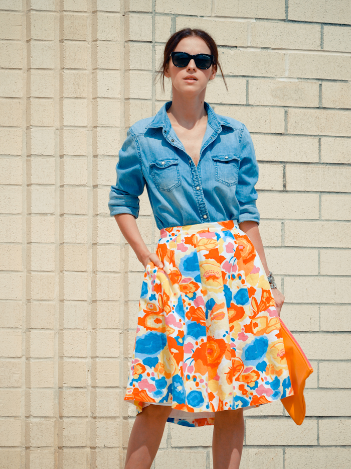 bittersweet colours, street style, colors, fashion trends, floral prints, denim and floral prints, denim shirt,