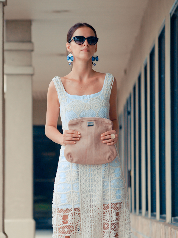 bittersweet colours, street style, colors, feminine style, summer style, lace dress, eye cat sunglasses, nude sandals,