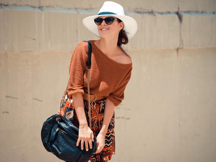 bittersweet colours, street style, colors, feminine style, summer style, safari, white hat, vintage, bermuda pants,