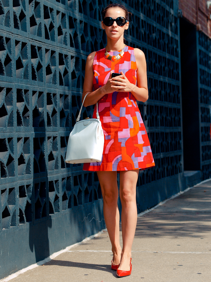 bittersweet colours, street style,  printed dress, vintage dress, New York,