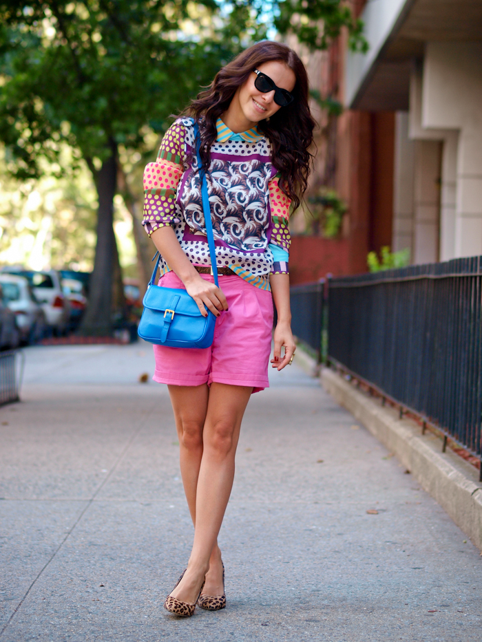 bittersweet colours, street style, nyfw, , nyfw street style, prints, leopard print pumps,  pink shorts,