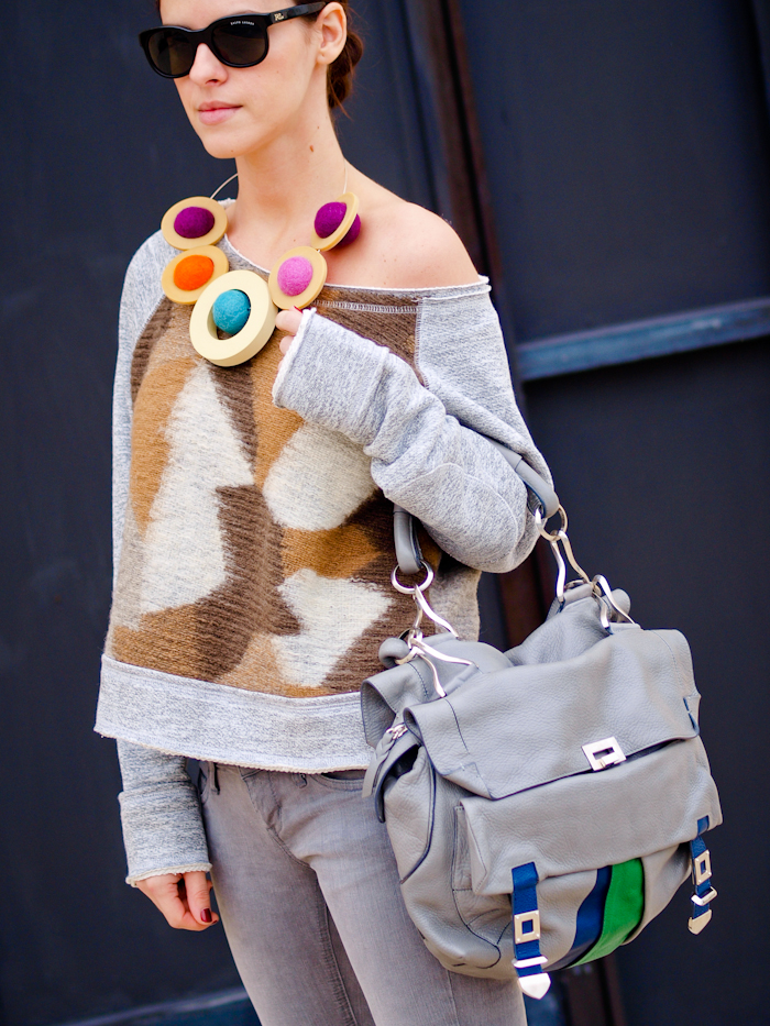 bittersweet colours, sweater weather, grey jeans, costume national bag, DIY necklace, street style,