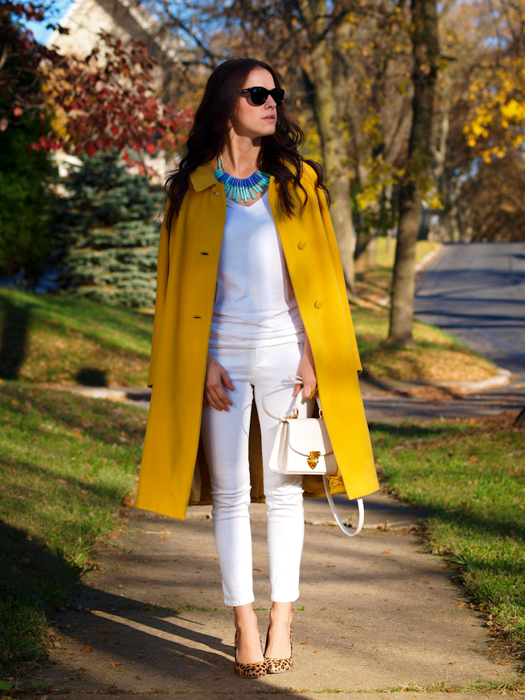 yellow coat, colorful coats, white jeans, white on white,bittersweet colours, fall street style, street style, fall trends, colours ,