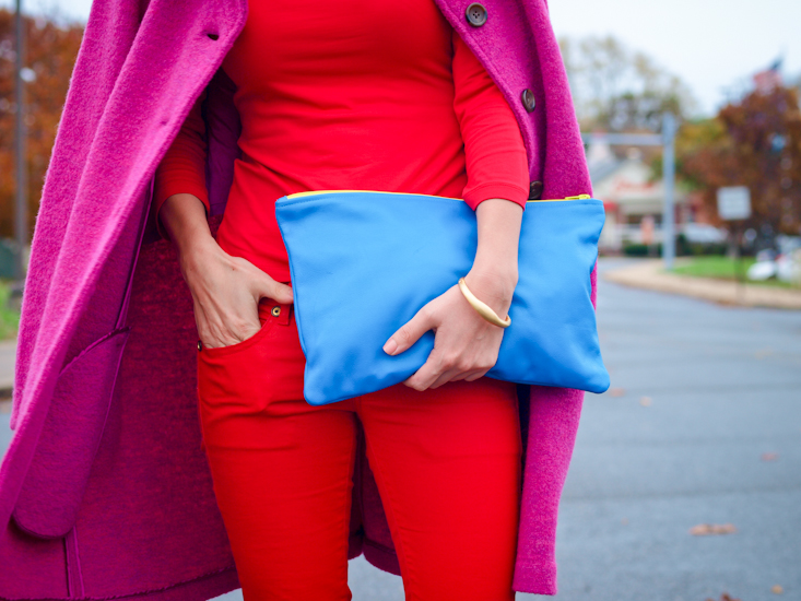 bittersweet colours, fall street style, street style, fall trends, pink coat, colours , red pants, colorful coats,