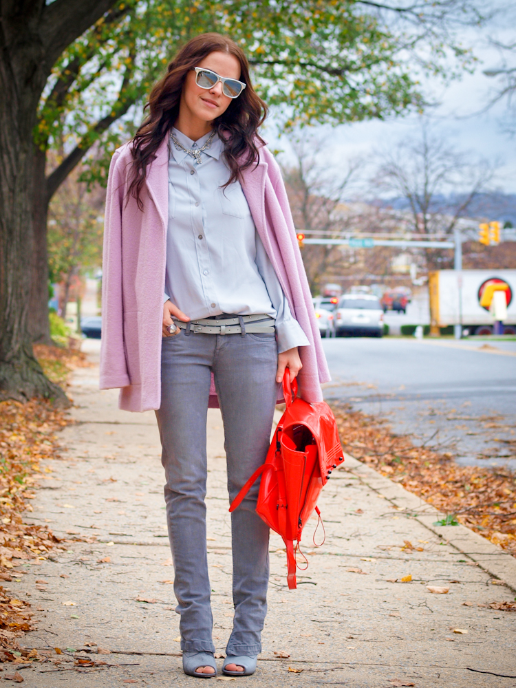 bittersweet colours, fall street style, street style, pink coat, pastels, 3.1 phillip lim bag, red bag,