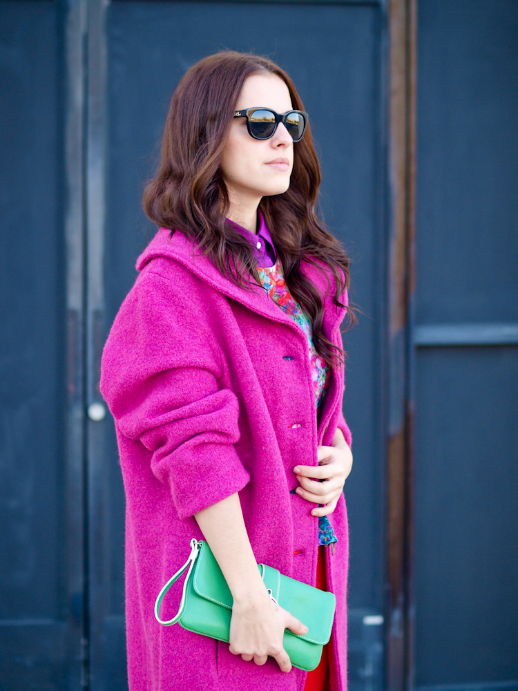 bittersweet colours, fall street style, street style, pink coat, pastels,  colorful coats, colors,