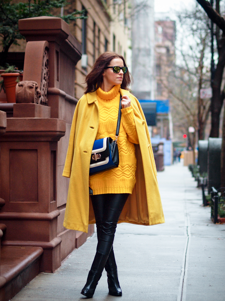 bittersweet colours, New York, street style, holidays, christmas tree, yellow coat, colorful coats,