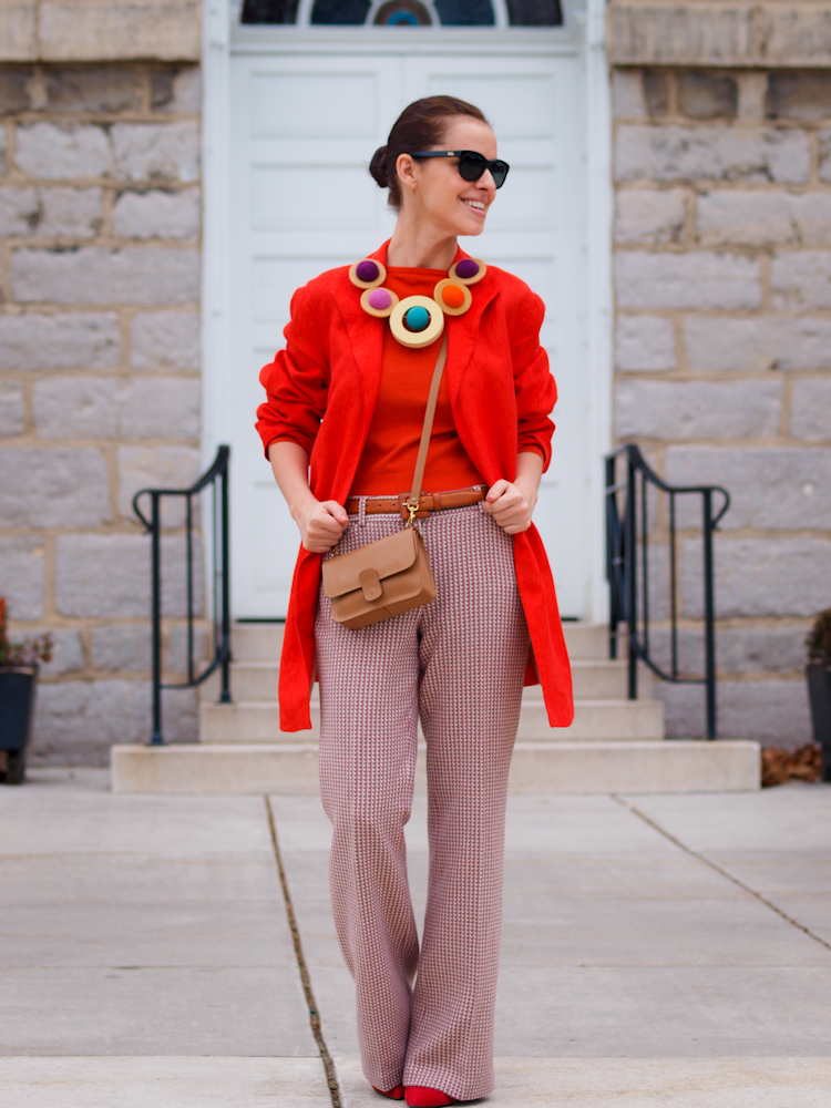 bittersweet colours ,colorful coats, orange coat,  pastels, fall street style,