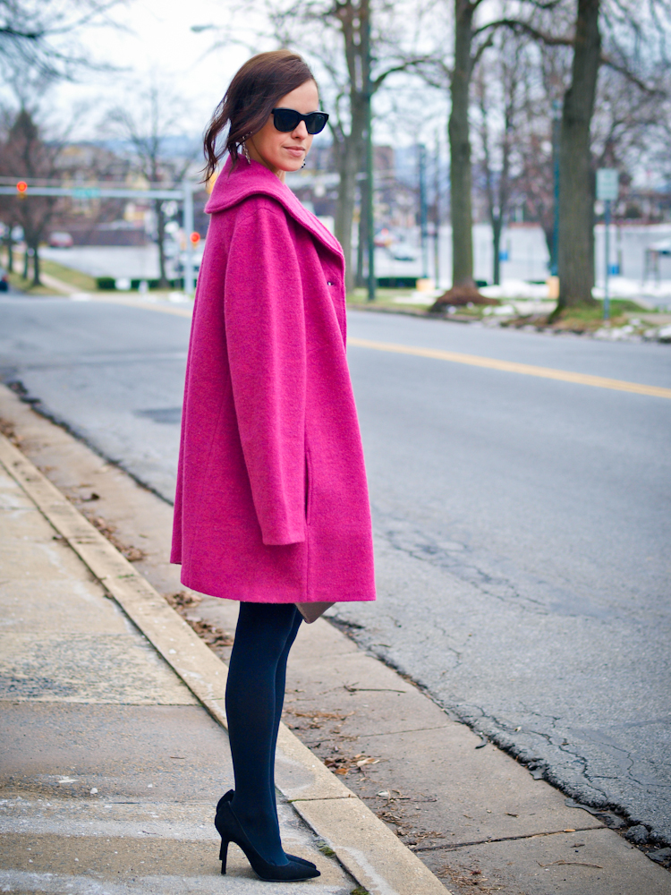 bittersweet colours, colorful coats, fall coats, street style, pink coat,