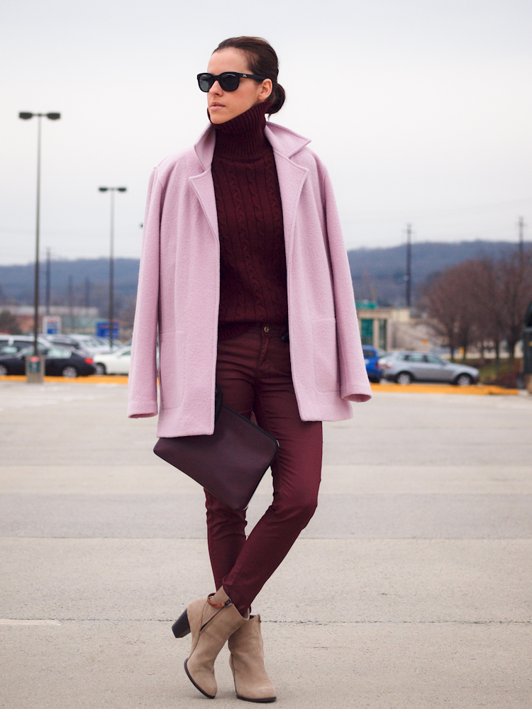 bittersweet colours, pink- bordeaux colors, fall coats, fall trends, pink coat, burgundy coat, 3.1 phillip lim bag, street style, zara boots, turtleneck, nude boots