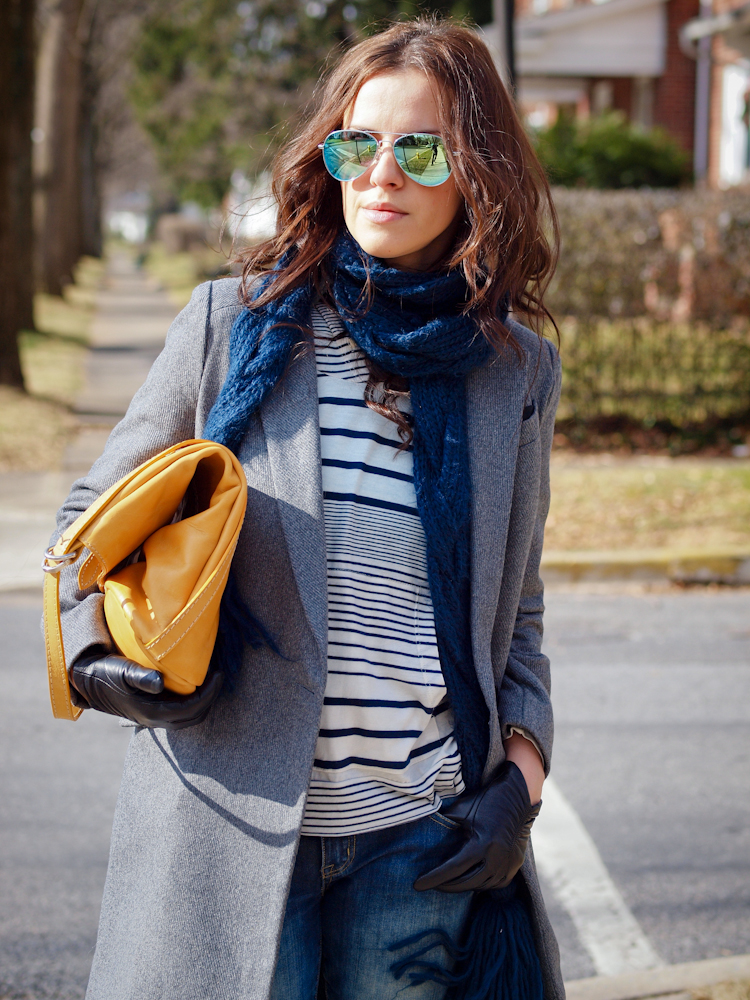 bittersweet colours, grey coat, street style, fall coats, blue jeans, mirrored sunglasses, casual loook,