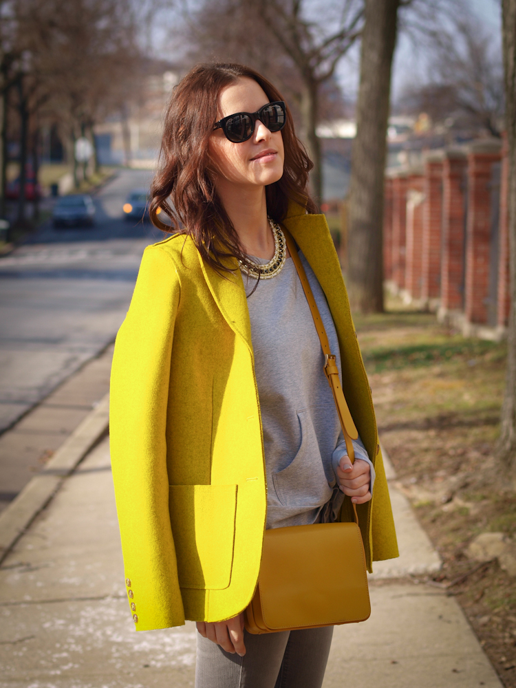 bittersweet colours, colorful coats, yellow coat, fall coats, street style, grey and yellow, joe fresh,