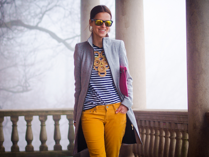 bittersweet colours, yellow pants, stripes, DIY necklace, grey coat, street style, fall coats, fall trends,