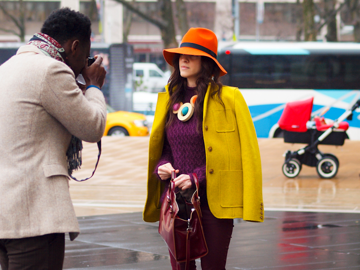 bittersweet colours, lincoln Center nyfw, nyfw, street style, diy jewelry, colorful coats, yellow coat, burgundy trend, fall colors,