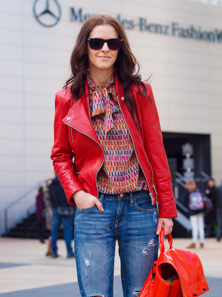bittersweet colours, nyfw, street style, red leather jacket, Dior blouse, boyfriend jeans, 3.1 Phillip Lim bag, leather jacket