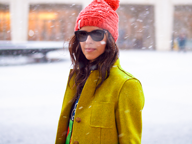 bittersweet colours, lincoln Center nyfw, nyfw, nyfw street style, colorful coats, yellow coat, 3.1 phillip lim bag, street style, polka dot prints, winter trends, colors,