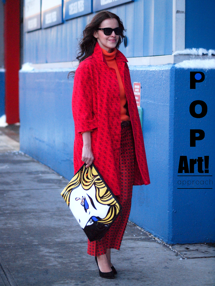 bittersweet colours, street style, nyfw, nyfw street style, 3.1 phillip lim bag, j.crew pants, colorful coats, red coat, prints, fall trends,