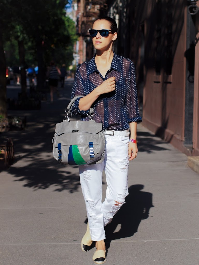 chanel espadrilles 2013, chanel, shoes chanel flats, Costume National bag, polka dots, ripped jeans, boyfriend jeans, mirrored sunglasses, new york, street style