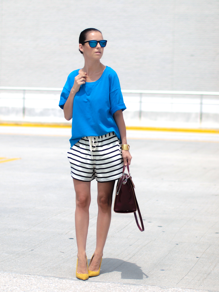 bermuda shorts, bittersweet colours, Gorjana jewelry, Joe fresh, mirrored sunglasses, Shoemint shoes, street style, stripes, Summer 2013 trends, sweatshirt, Zara,