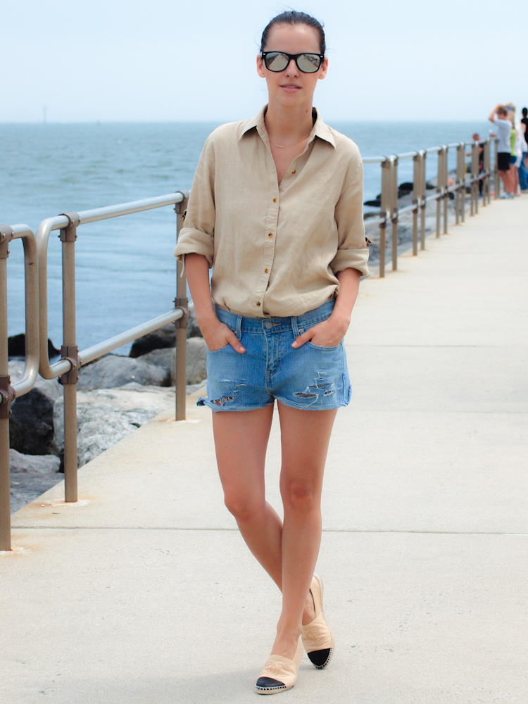 chanel espadrilles 2013, chanel, shoes chanel flats, street style, levis, ralph lauren shirt