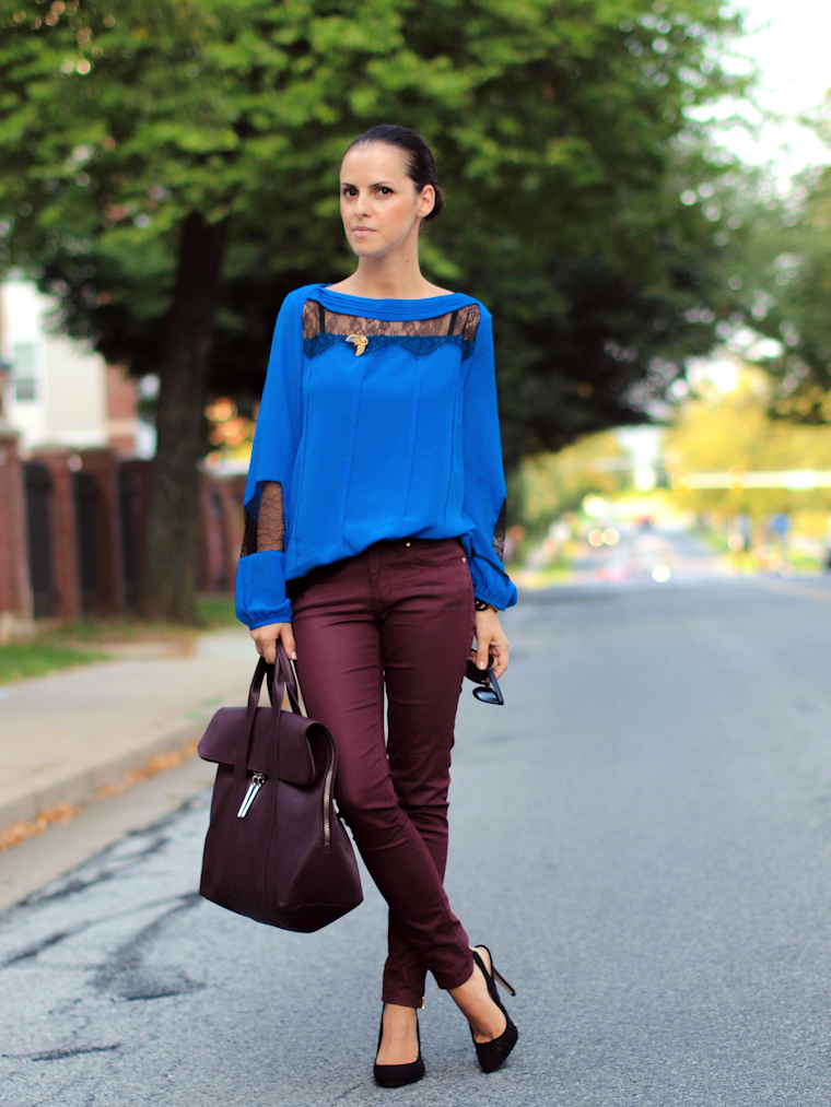 bittersweet colours, Fall trends, fall colors, 3.1 Phillip Lim, Aryn K, Zara, lace heels, lace trend, mirrored sunglasses, street style, burgundy color, blue-burgundy combination,