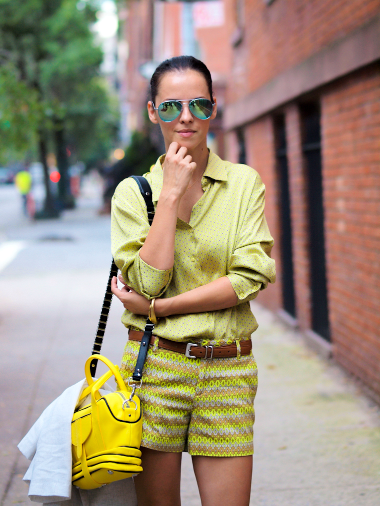 bittersweet colours, New York, street style, Joe fresh, vintage, COLORS, fall colors, mirrored sunglasses, prints, Fabiola Pedrazzini bag, leopard print, striking color, Daniblack, Joe fresh