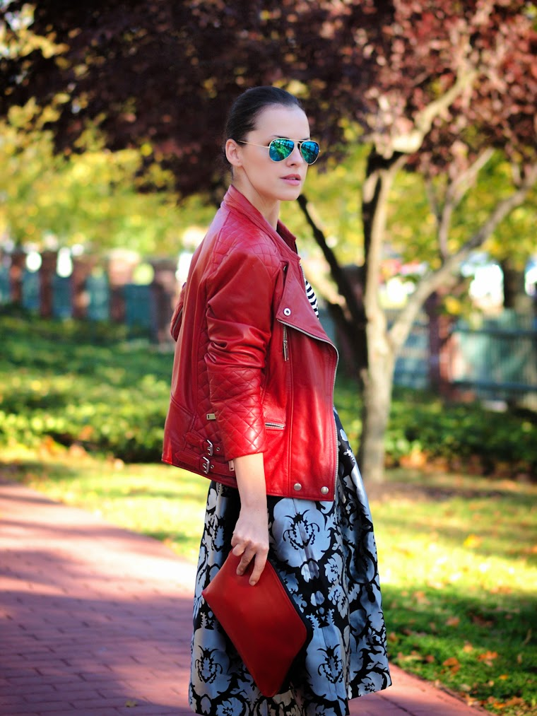 3.1 Phillip Lim, bittersweet colours, fall 2013, Fall trends, full skirt trend, graphic prints, Joe fresh, leather jacket, metallics trend, mirrored sunglasses, miu miu, RAY BAN, RED, street style, Zara,
