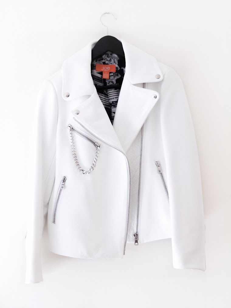 bittersweet colours, new in, leather jacket, white on white, Joe fresh, Fall trends, fall 2013, biker leather jacket