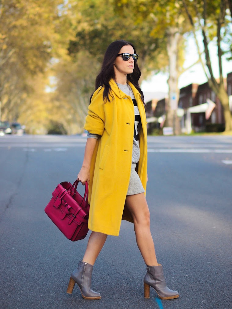 bittersweet colours, fall 2013, fall colors, Fall trends, street style, Reed Krakoff, ASOS, Zara, yellow, colorful coats, sweatshirt,