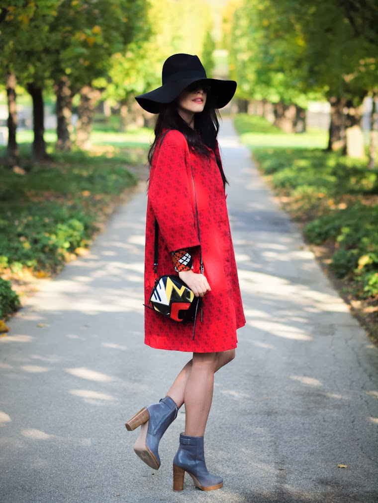 bittersweet colours, fall colors, Fall trends, French Connection, prints, RED, street style, vintage, Zara, 3.1 Phillip Lim, hats, Bohemian style,