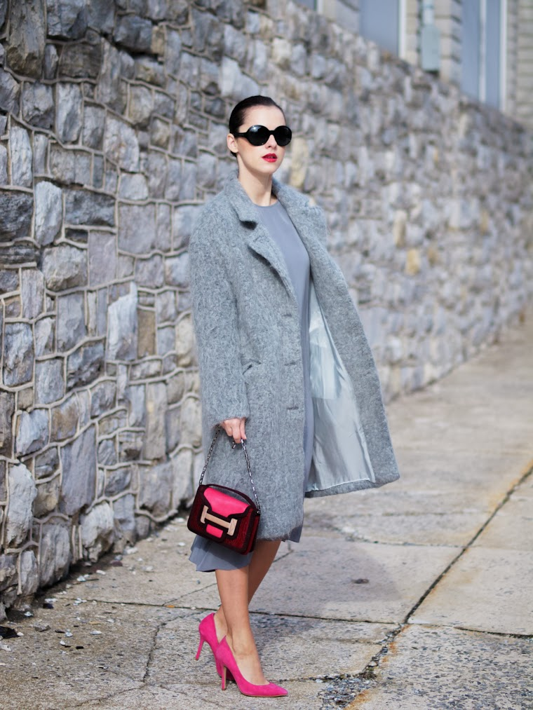 bittersweet colours, fuzzy coat, grey coat, HM, pierre hardy, PINK, silk dress, street style, Topshop, Tres Jewellery, Chanel lipstick, WInter 2013, winter trends,