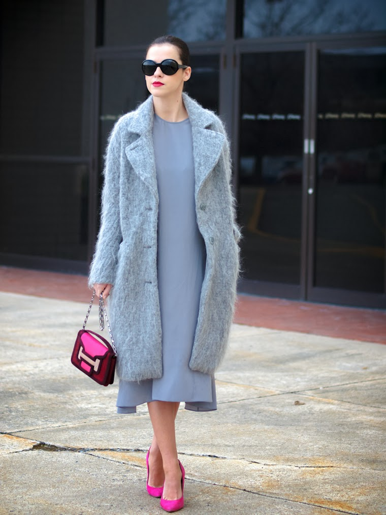 bittersweet colours, fuzzy coat, grey coat, HM, pierre hardy, PINK, silk dress, street style, Topshop, Tres Jewellery, Chanel lipstick, winter trends,