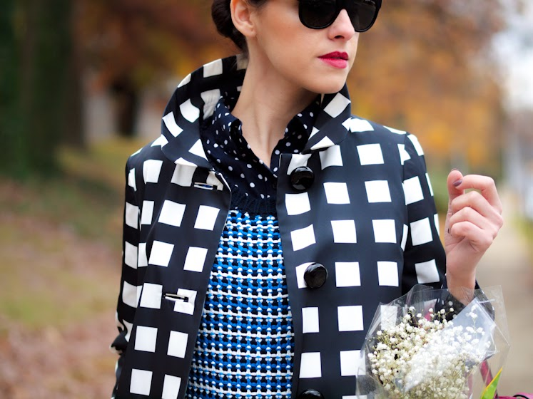 bittersweet colours, kate spade, jeffrey campbell, Reed Krakoff, Joe fresh, Check coat, checkerboard print, polka dots, prints, PINK, fall 2013, Fall trends, street style,