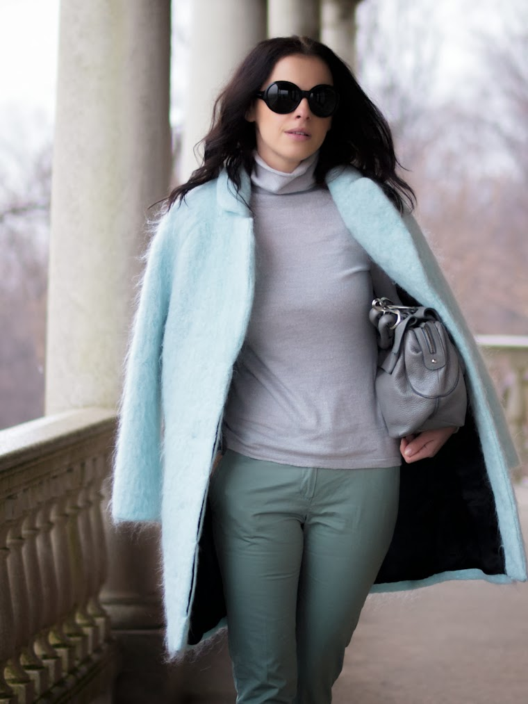 bittersweet colours, blue, Costume National, fuzzy coat, HM, kate spade, Mango, pastel trends, pastels, street style, Tres Jewellery, winter trends, winter pastels