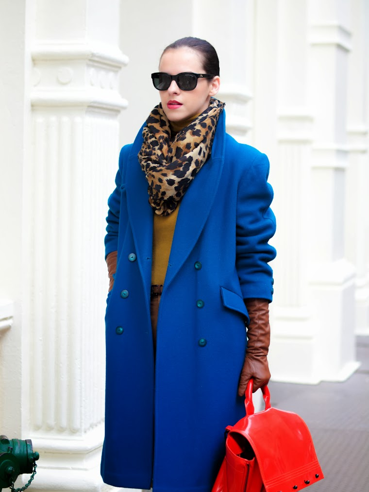 3.1 Phillip Lim, animal print, Benetton, bittersweet colours, colorful coats, holidays, New York, RED, street style, teal color, winter trends, Zara, WInter 2013,