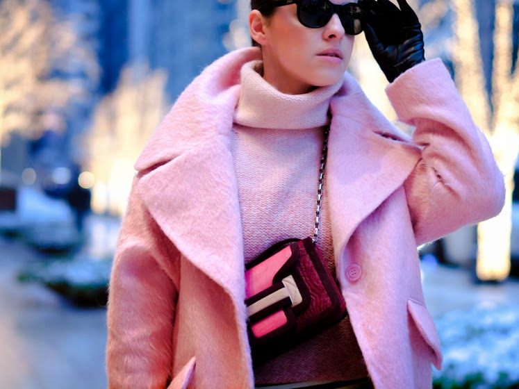 ASOS, bittersweet colours, Christmas, holidays, New York, pierre hardy, PINK, Pink coat, PINK TREND, street style, stripes, Vero moda, winter pastels, winter trends, pastel trends,