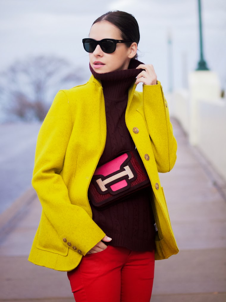 bittersweet colours, burgundy trend, Celine, celine espadrilles, color blocking, COLORS, Joe fresh, Mango, ootd, pierre hardy, RED, street style, winter trends