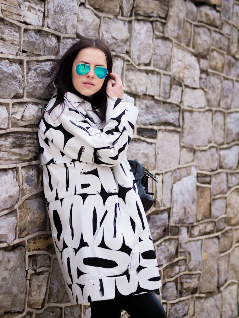 bittersweet colours, B&W, graphic prints, Steve Madden, Joe fresh, RAY BAN, HM, street style, winter trends, monochrome look, black and white trend,