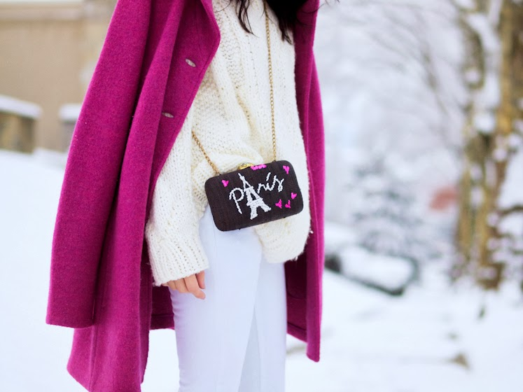 bittersweet colours, winter trends, Pink coat, PINK TREND, white on white, street style, Mango, vintage, Kayu bag, fuchsia color,