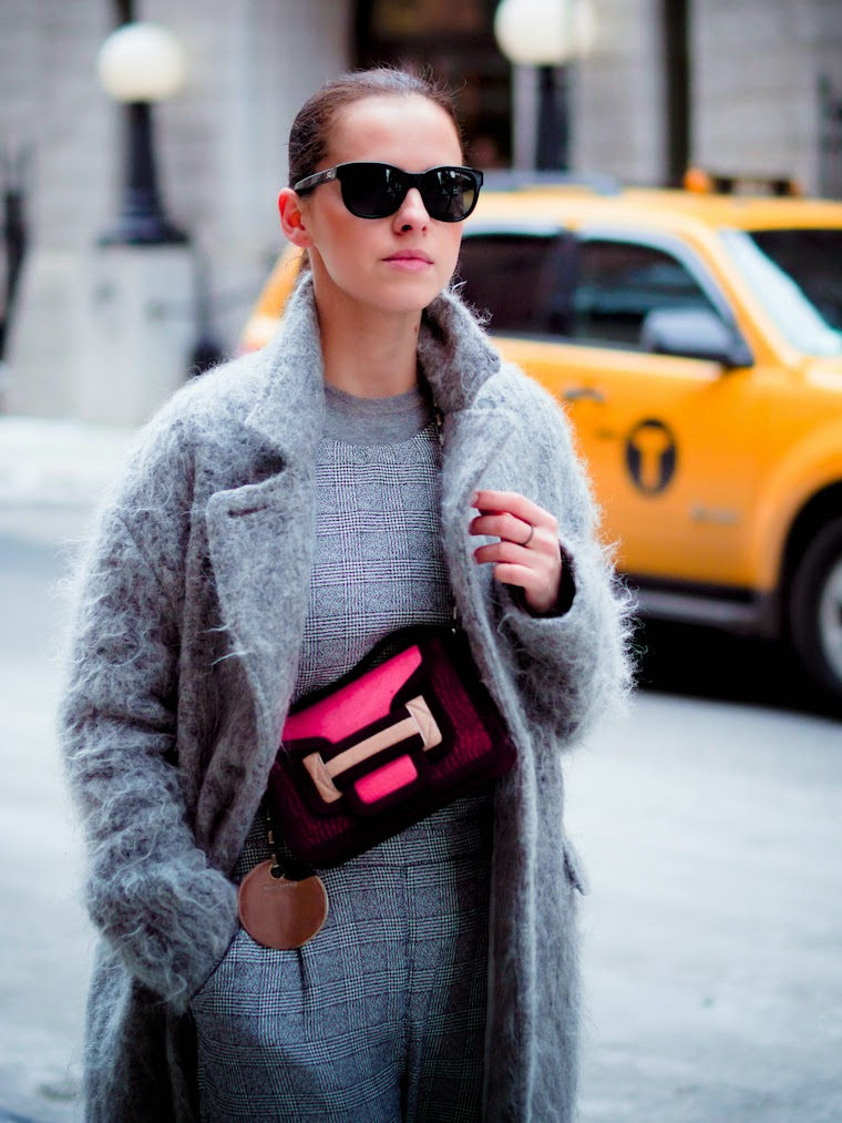 ASOS, bittersweet colours, cooee, fuzzy coat, grey coat, JUMPSUIT, Lincoln Center NYFW, New York, nyfw F/W 2014, nyfw street style, pierre hardy, PINK TREND, street style, Topshop,
