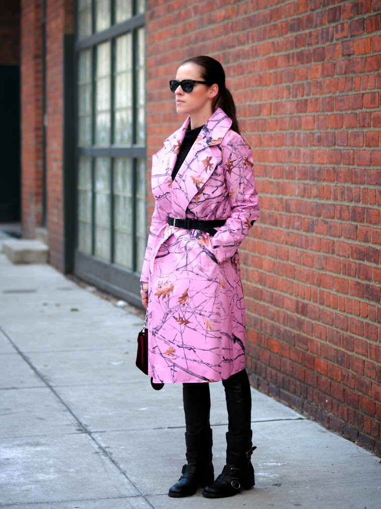 belted coat, bittersweet colours, DIY, diy coat, Lincoln Center NYFW, Lucky Brand, New York, nyfw F/W 2014, nyfw street style, pierre hardy, Pink coat, PINK TREND, street style,