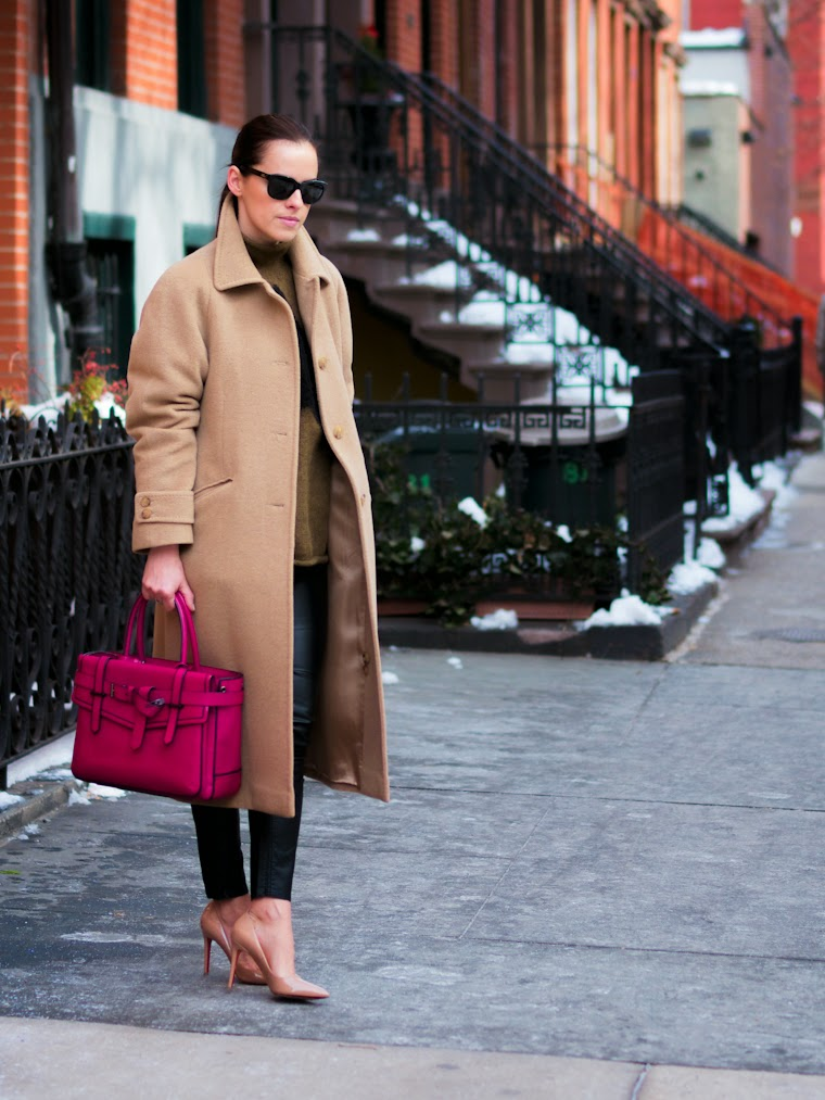 bittersweet colours, CAMEL coat, Christian Louboutin, J.Crew, newyork, NYFW, nyfw F/W 2014, PINK, Reed Krakoff, street style, winter trends,